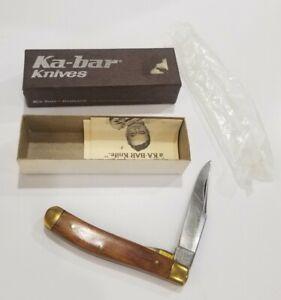 Vintage Kabar Slimline Trapper 1002 Pocket Knife 1970s Rosewood/Brass NOS Box