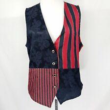 Samantha Davis Vest Rose & Stripe Pattern Size Large Red Black Gold Vintage A1P