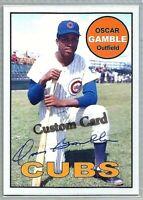 OSCAR GAMBLE CHICAGO CUBS 1969 STYLE CUSTOM MADE BASEBALL CARD BLANK BACK