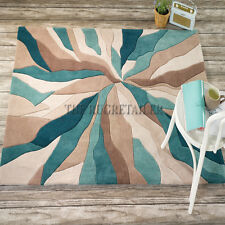 Infinite Splinter Modern Rugs In Teal & Beige. Four Sizes Incl Large Sizes