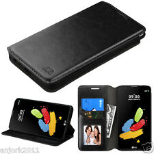 Black Faux Leather Folio Flip Case w/Stand Cover for LG Stylo 2 LS775 K520