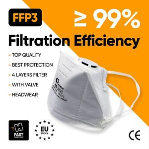 10x FFP3 Respirator Face Mask with Valve Protective Easy to Breathe N99 Dust