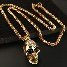 Mens Stainless Steel CZ Skull Gold Pendant Wheat Franco Chain Necklace +Box NL36