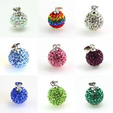 Clear Shiny Czech Crystal Disco Ball Silver Charm Pendant 10mm 14mm fit Necklace