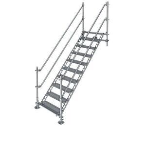 Bautreppe Außentreppe feuerverzinkt für 2 m Höhenunterschied mit Wandbefestigung