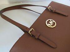 NWT Auth Michael Kors Jet Set Travel Large Tote Handbag Color LUGGAGE Leather