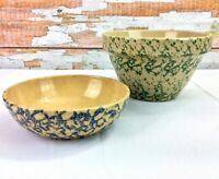 Robinson Ransbottom Spongeware Pottery #8 Green Mixing Bowl Blue Roseville Ohio