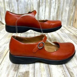 Dansko Red Leather Mary Jane Style Shoes, Strap & Buckle, Size 7.5 US,38 EUR EUC