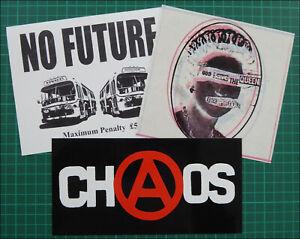 SEDITIONARIES, 3 x Large Glossy Vinyl Stickers, Sex Pistols, Chaos, No Future
