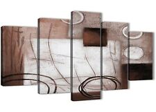 5 Panel Brown White Painting Abstract Bedroom Canvas Decor - 5422 - 160cm