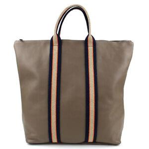 Tasche Rucksack Rucksacktasche Echtes Leder Shopper Vintage Retro Khaki Taupe