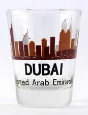 DUBAI UNITED ARAB EMIRATES (UAE) SUNSET SKYLINE SHOT GLASS SHOTGLASS