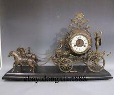 Europ Retro Bronze Mechanical clockwork Double Horse carriage Table Clock timer
