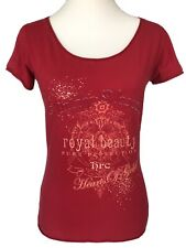HRC Women's Top Size 8 Red Short Sleeves Scoop Neck T-Shirt Casual Slim Fit