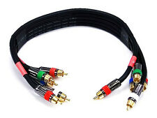 1.5ft 18AWG CL2 Premium 5-RCA Component Video/Audio Coaxial Cable (RG-6/U) Black