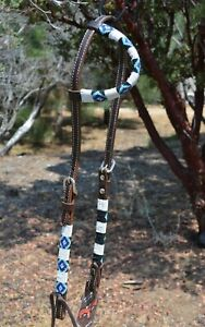 """Circle Y 5/8"""" Infinity Wrap Beaded One Ear Headstall - Blue & White"""