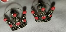 Disney Couture Alice in Wonderland Red Queen Hearts Crown & Mickey Red Studs