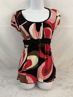 IZ BYER CALIFORNIA Short Sleeve Empire Waist Tunic Top Womens S Pink Red Belt R