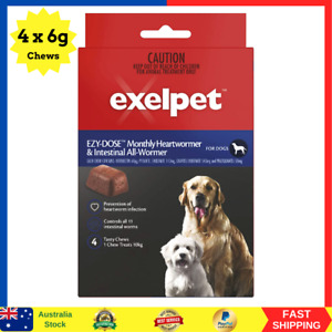 EXELPET Heart and Intestinal Dog All Wormer 4 x 6g Chews, 24g NEW AU