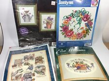 Lot of 4 Cross Stitch Kits Daily Bread, Wreath, Gardening, Womens Work