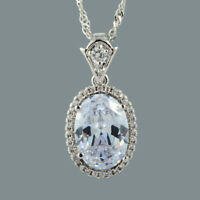 18K White Gold Plated White Topaz Gem Stone Slide Pendant Necklace Curb Chain