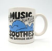 Music Soothes the Savage Beast Humorous Coffee Tea Cup Mug Music Notes Vtg