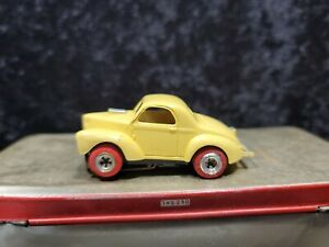Aurora T-Jet HO Scale Willys Gasser Slot Car, Yellow,  Good condition