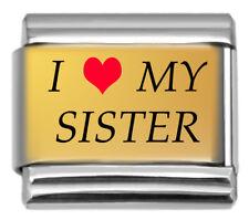Gold Tone I Love My Sister Red Heart 9mm Italian Charm