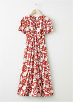 Brick Red Floral Empire Cut Midi Dress with Tie Detail And Split Hems