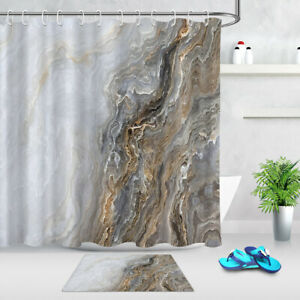 Abstract Grey Curly Marble with Golden Veins Shower Curtain Set Bathroom Decor
