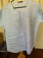 Ping Pong light blue linen top with silver stripes, s 10-14, NWOT
