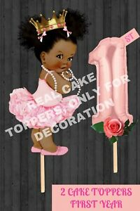 First Year Cake Topper American African Girl Party Supplies 1 Year Princess Girl