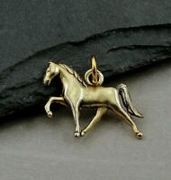 Gold Horse Charm - Trotting Pony Pendant - Tennessee Walking Horse Jewelry NEW