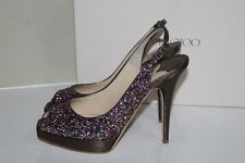 New 11 / 41 Jimmy Choo Clue Multi Color Glitter Slingback Platform Sandal Shoes