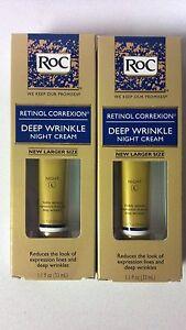 2 ROC Retinol Correxion DEEP WRINKLE NIGHT Cream LARGER SIZE 1.1 oz each