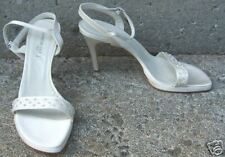 """NEW KENNETH COLE New York SZ 9.5 Ivory Beaded Ankle Strap Sandals 4"""" Slim Heel"""