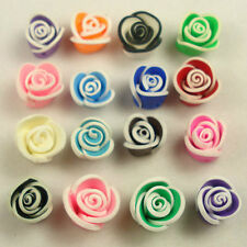 100 PCS Mixed Color Fimo Polymer Clay Flower Beads 15mm