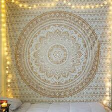 Indian Tapestry Wall Hanging Mandala Hippie Gypsy Bedspread Throw Bohemian Cover Gold