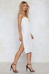 BNWT Nasty Gal white dress size 10 Beat Em Fair and Square Midi Dress