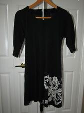 Antipast Black Floral Wool Short Sleeve Sweater Dress S M