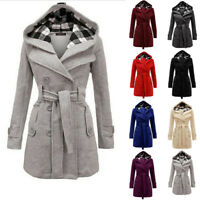 Winter Women Woolen Thick Trench Parka Long Tops Hooded Coat Jacket sd