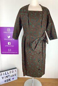 True Vintage 50s Size 14/16 Green Brown Brocade Stunning Handmade Dress