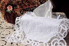 Victorian Style~Handmade Battenburg Lace Tissue Box Cover~White~Wedding/Teatime~