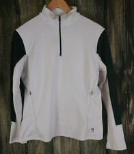 LUCY Womens L White Quarter Zip Running Training Top Stretch Pockets Pullover
