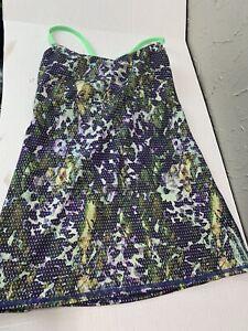 LULULEMON Dancing Warrior Tank Purple/Green Floral Strappy Open Back Size 8