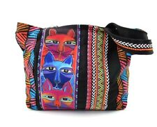 LAUREL BURCH Medium Tote ~ Stacked Whiskered Cats Shoulder Bag ~ New