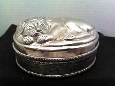 Victorian Period Anglo India Silver Plated Box With Lion Lid ~