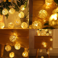 Room 5M Warm White Rattan Ball LED String Light Fairy Lamp Wedding Party Decor
