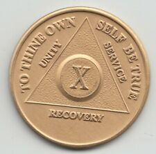 10 Years - X Years - Alcoholics Anonymous AA recovery medal token chip coin