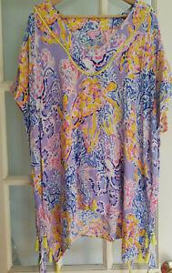 Lilly Pulitzer El Bravo Way Caftan Top So Snappy Lilac Verbena L/XL (32056B)